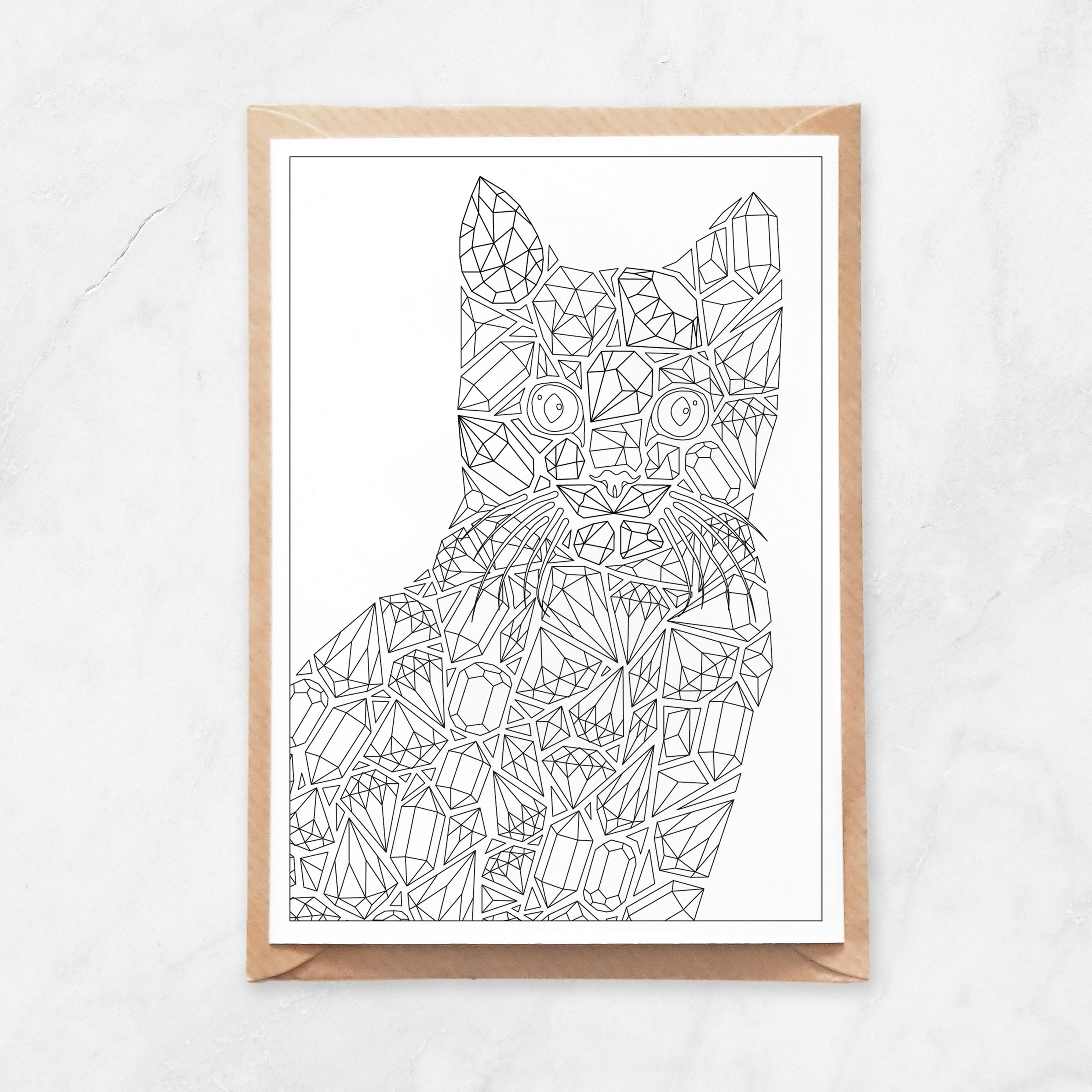 diamonds cat coloring postcard