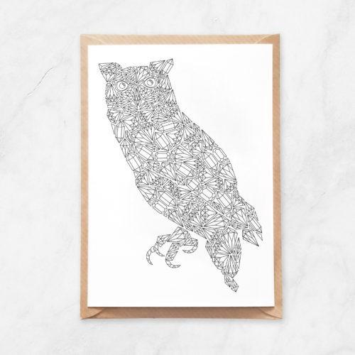 diamonds owl coloring postcard