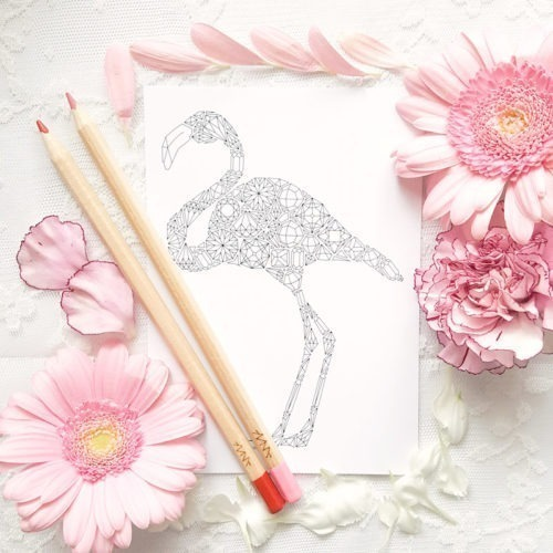 Flamingo coloring postcard for adult coloring books and snail mail diy stationery