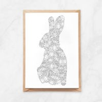 gemstones rabbit coloring postcard