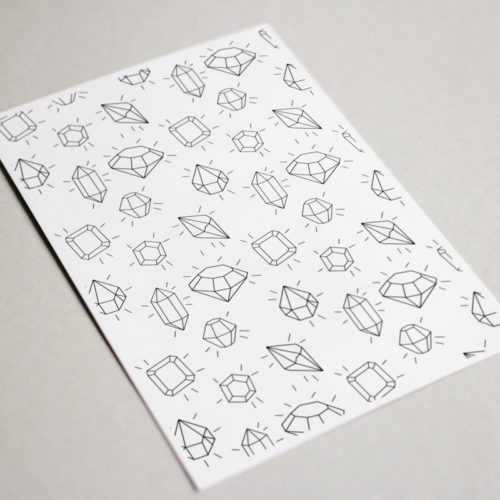 shining gems pattern gemstones postcard to color in for adults coloring book cards