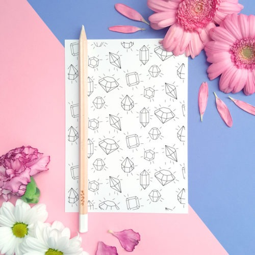 shining diamonds coloring postcard for adults hobby carrd making greeting card