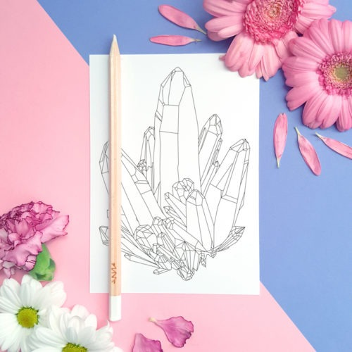 big crystals constellation coloring postcard for snail mail