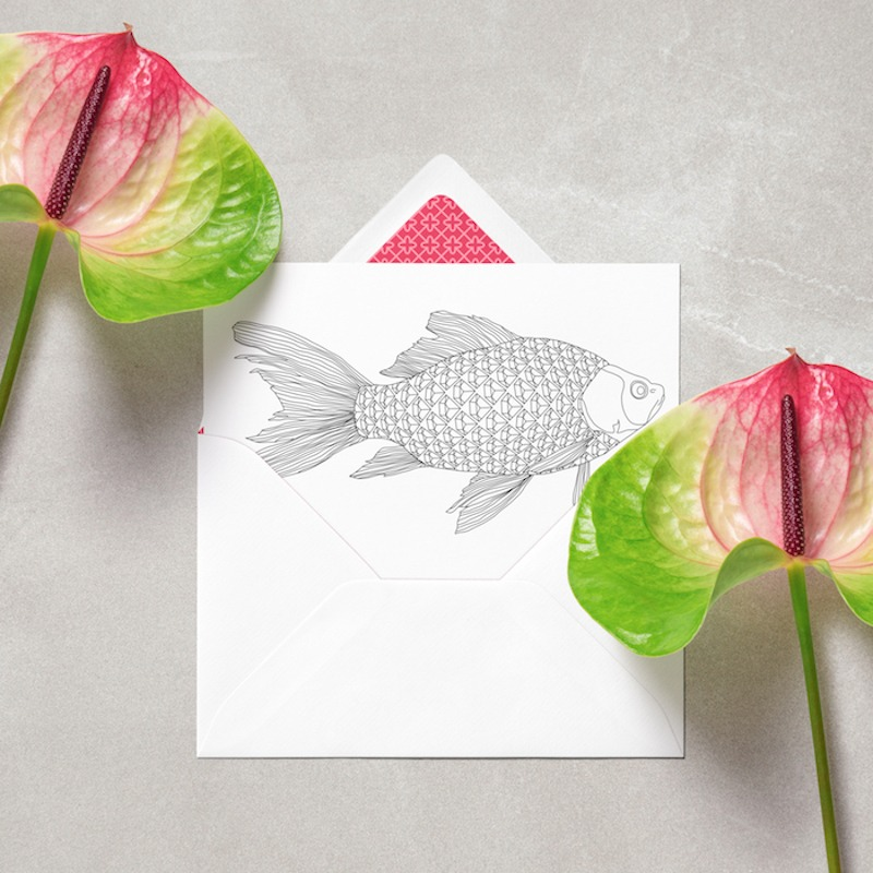 adult coloring postcard with diamonds fish and gemstone pattern to color in