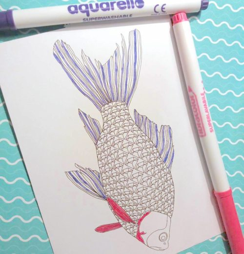 fish coloring postcard work in progress coloring page for adults