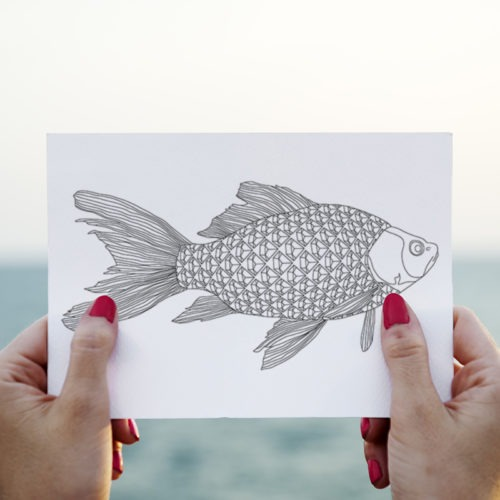 adult coloring fish coloring page postcard sea side