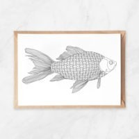 diamonds fish coloring postcard