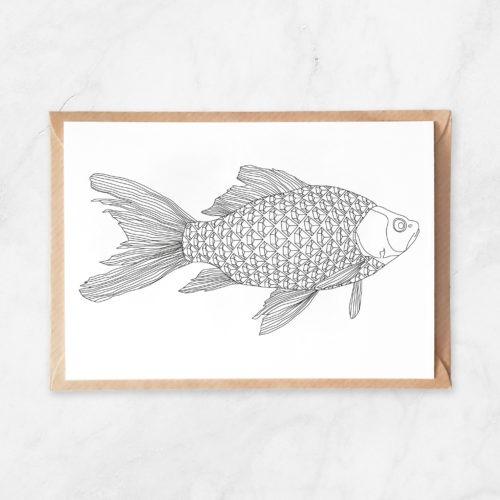 diamonds fish coloring postcard