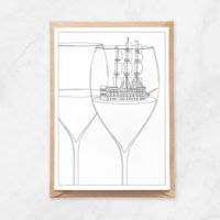 wine coloring postcard