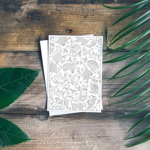 forest animal coloring page postcard for diy stationery paper carfts
