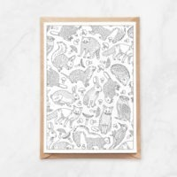 forest animals coloring postcard