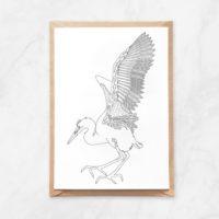 stork coloring postcard