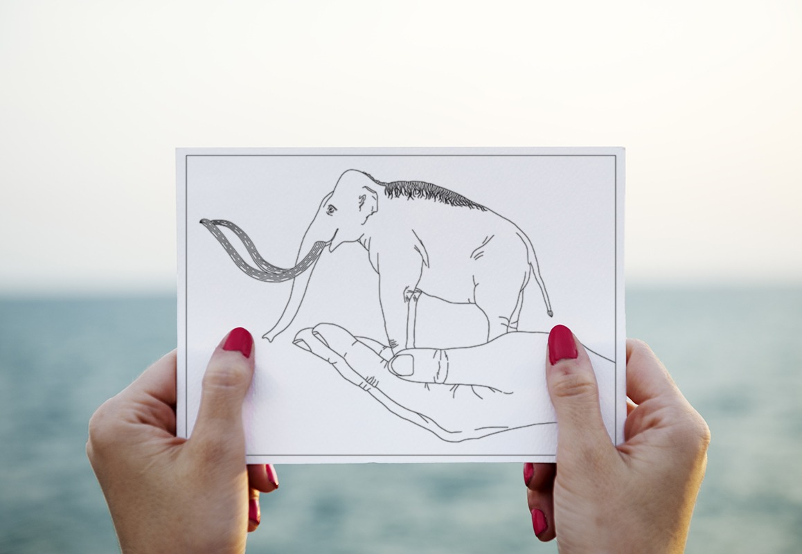 mammoth on a hand adult coloring postcard