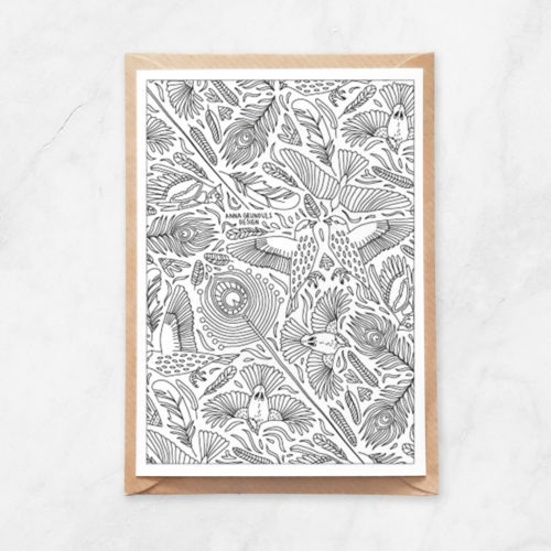 birds pattern coloring postcard