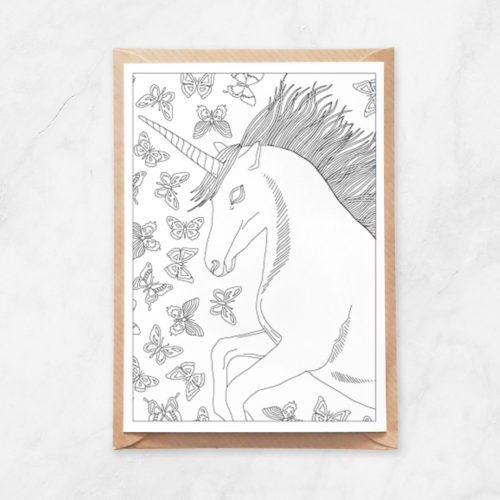 unicorn and butterflies coloring postcard