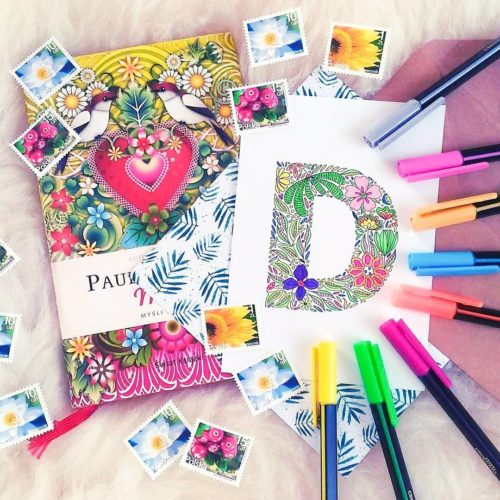 floral letter coloring postcard adult coloring page greeting card set postcards postcrossing