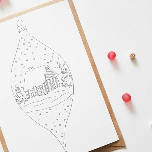 Christmas ornament postcard slim ornament vertical postcard to color in adult coloring page