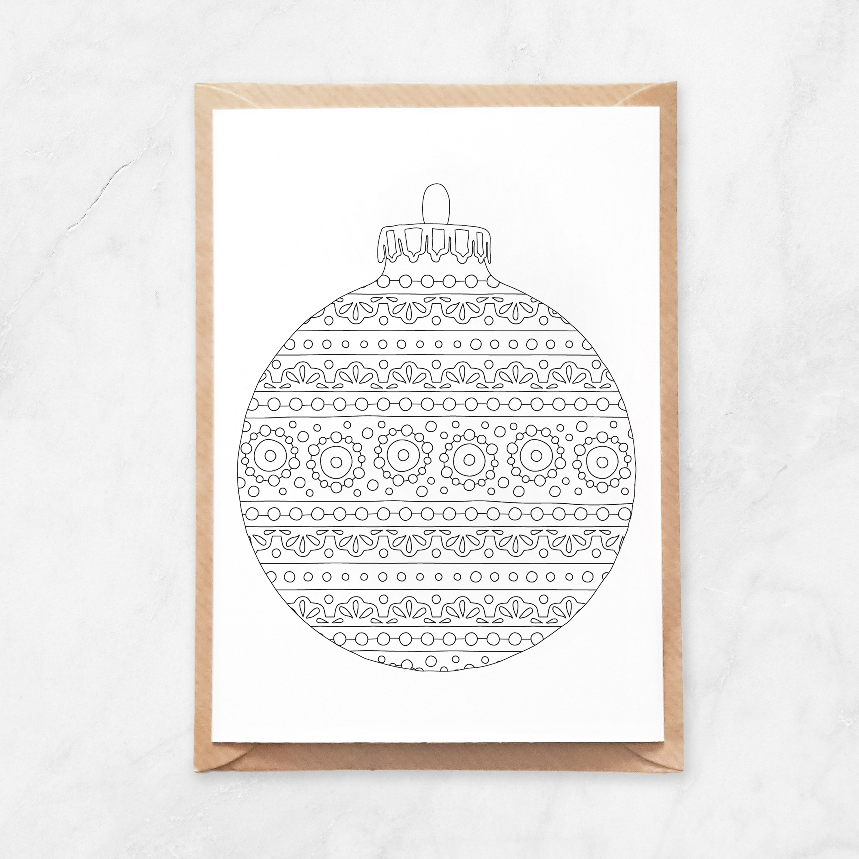 round ornament coloring postcard