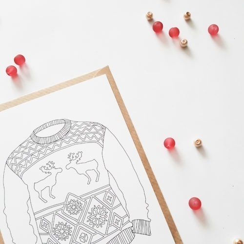 ugly sweater coloring postcard adult coloring page sweater weather postcard to color in