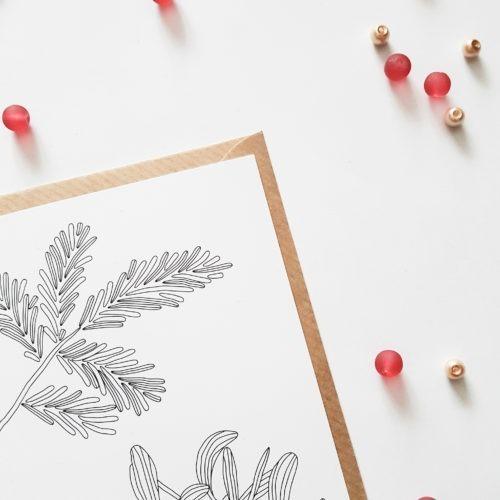 mistletoe botanical postcard coloring postcard adult coloring page mistletoe