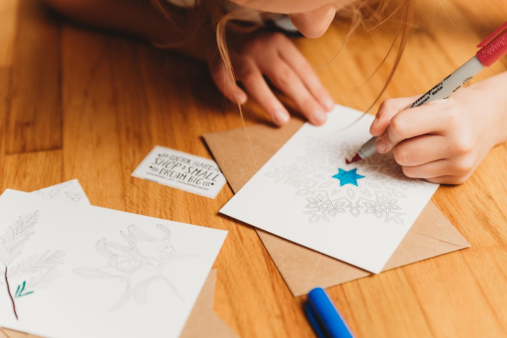 Mistletoe Coloring Postcard