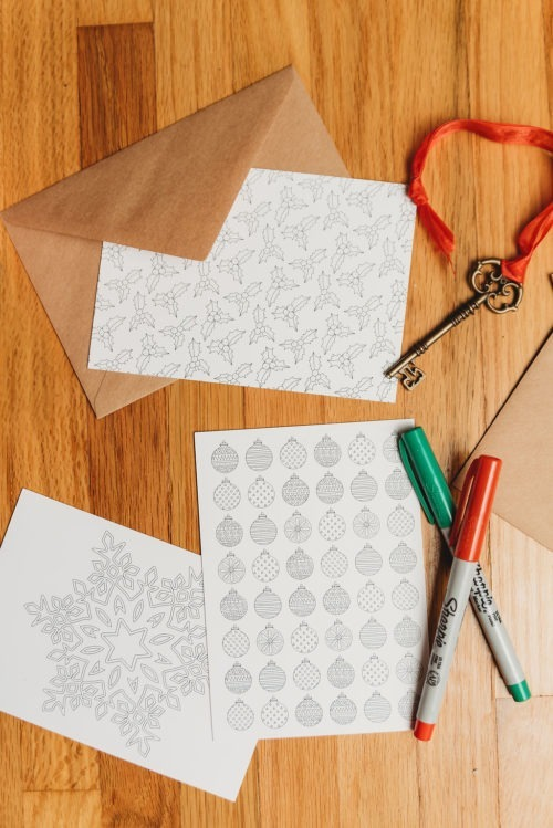 tiny Christmas ornaments coloring page Christmas coloring postcard ornaments Christmas tree coloring page for adult coloring postcard greeting card Christmas card note card stocking stuffer gift ideas