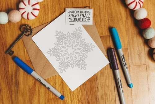 Snowflake Adult Coloring Mandala Coloring Postcard Adult Coloring Winter Christmas Card DIY