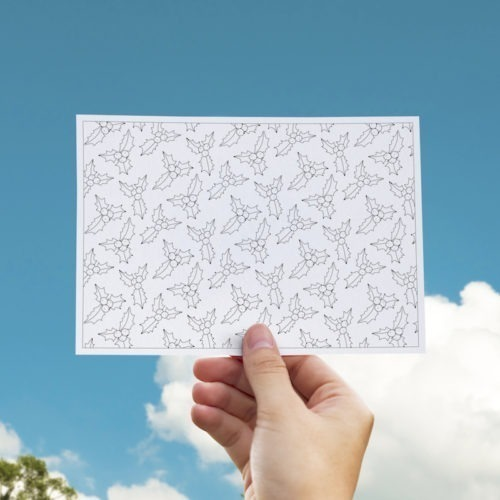 Christmas postcard to color in adult coloring page postcards