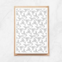 holly pattern coloring postcard