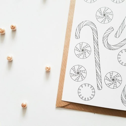 Christmas sweets pattern coloring postcard Christmas postcard to color in with sweets illustration