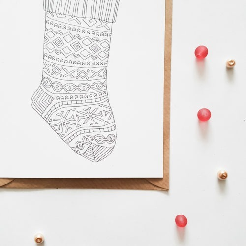 christmas stocking postcard stocking stuffer postcard coloring page stocking