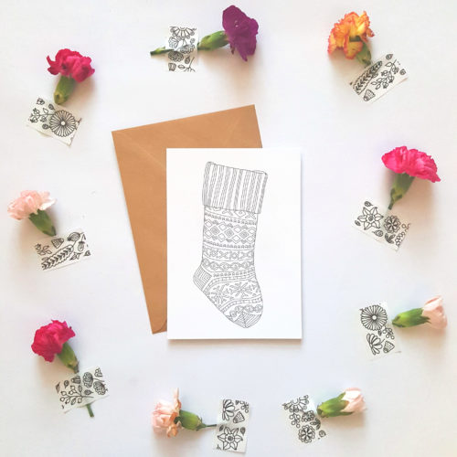 Christmas Stocking Coloring Postcard Adult Coloring Book Christmas Holidays Christmas cards Greeting Cards