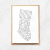 Christmas stocking coloring postcard