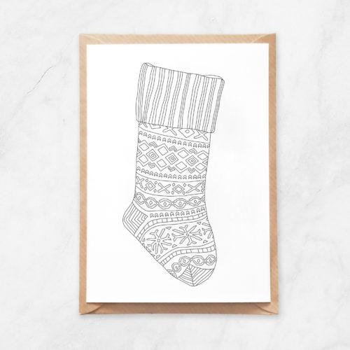 Christmas stocking coloring postcard