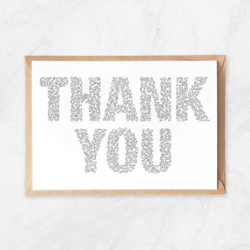thank you bubbles pattern coloring postcard