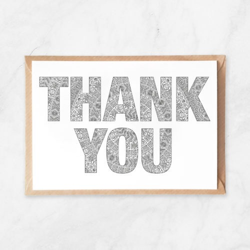 thank you mandala pattern coloring postcard