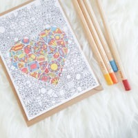 gemstones pattern coloring postcard