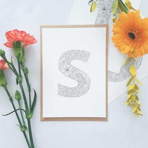 floral letters coloring postcard set