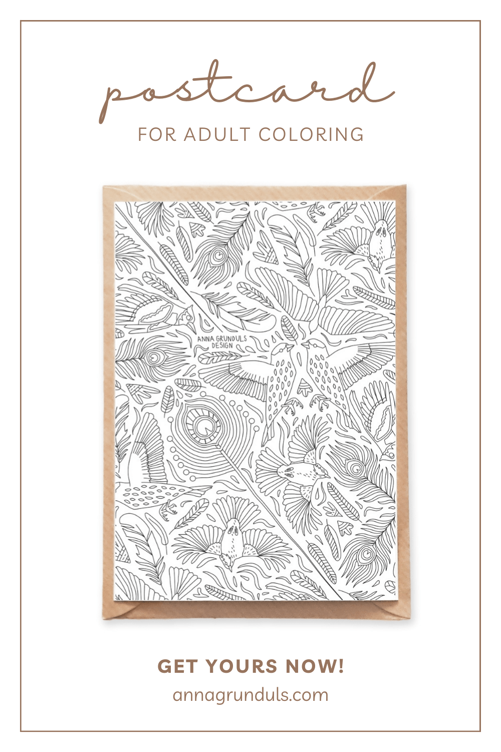 birds pattern postcard for adult coloring pinterest pin