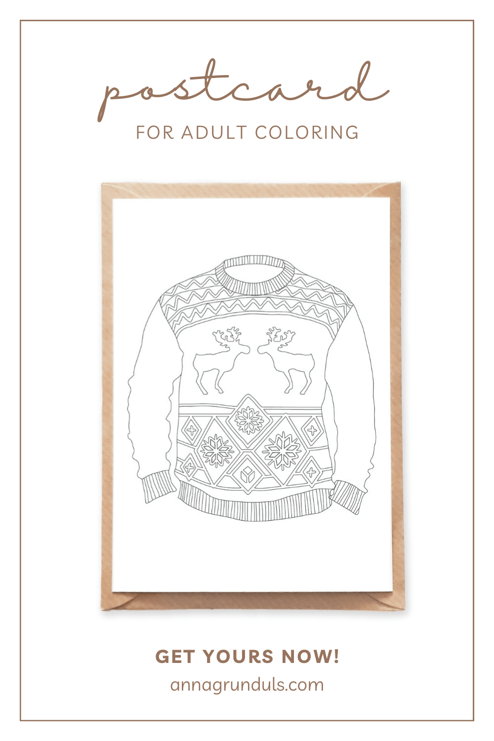 christmas sweater postcard for adult coloring pinterest pin