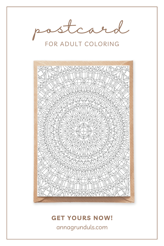 crystals mandala postcard for adult coloring pinterest pin