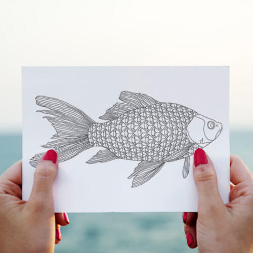 diamonds fish postcard for adult coloring
