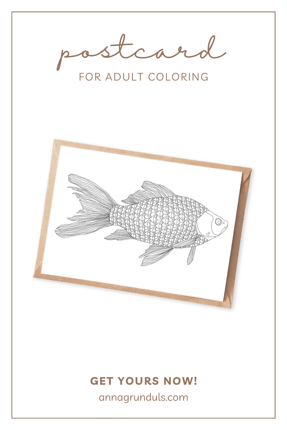 fish postcard for adult coloring pinterest pin