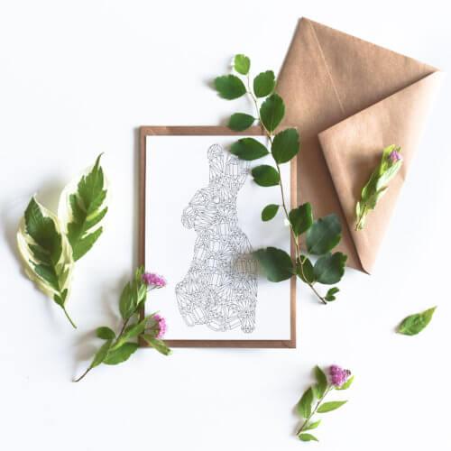 gems pattern rabbit postcard for easter adult coloring