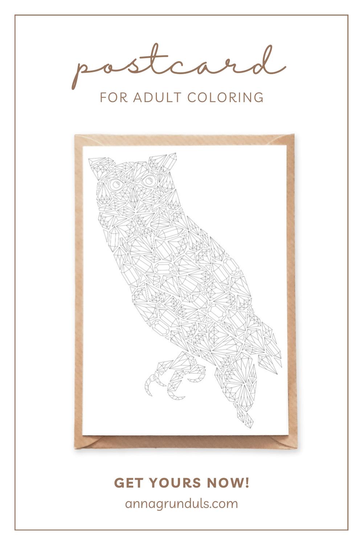 gemstones owl postcard for adult coloring pinterest pin