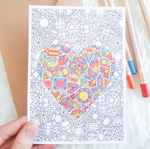 gemstones pattern postcard for adult coloring