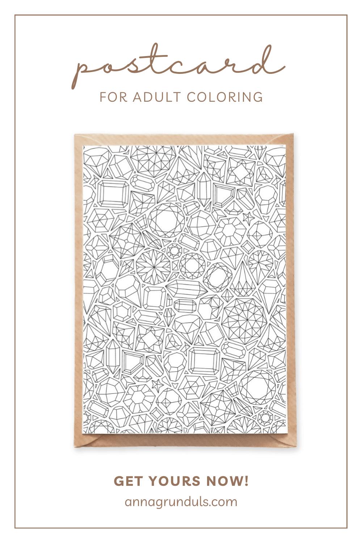 gemstones pattern postcard for adult coloring pinterest pin