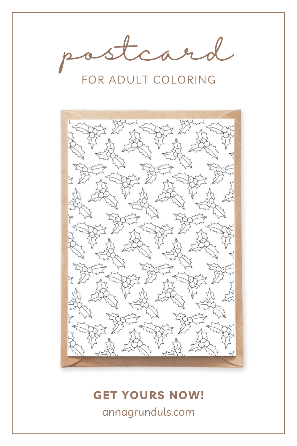 holly pattern postcard for adult coloring pinterest pin