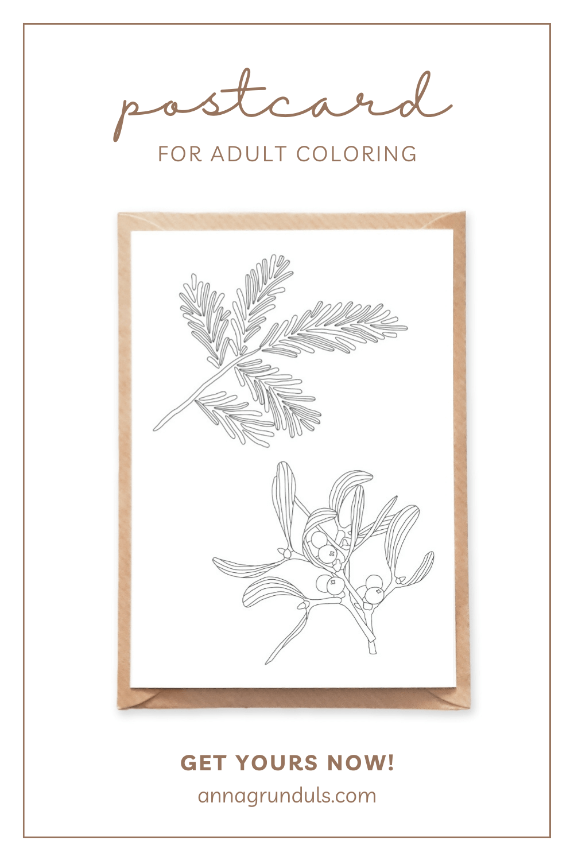 mistletoe postcard for adult coloring pinterest pin
