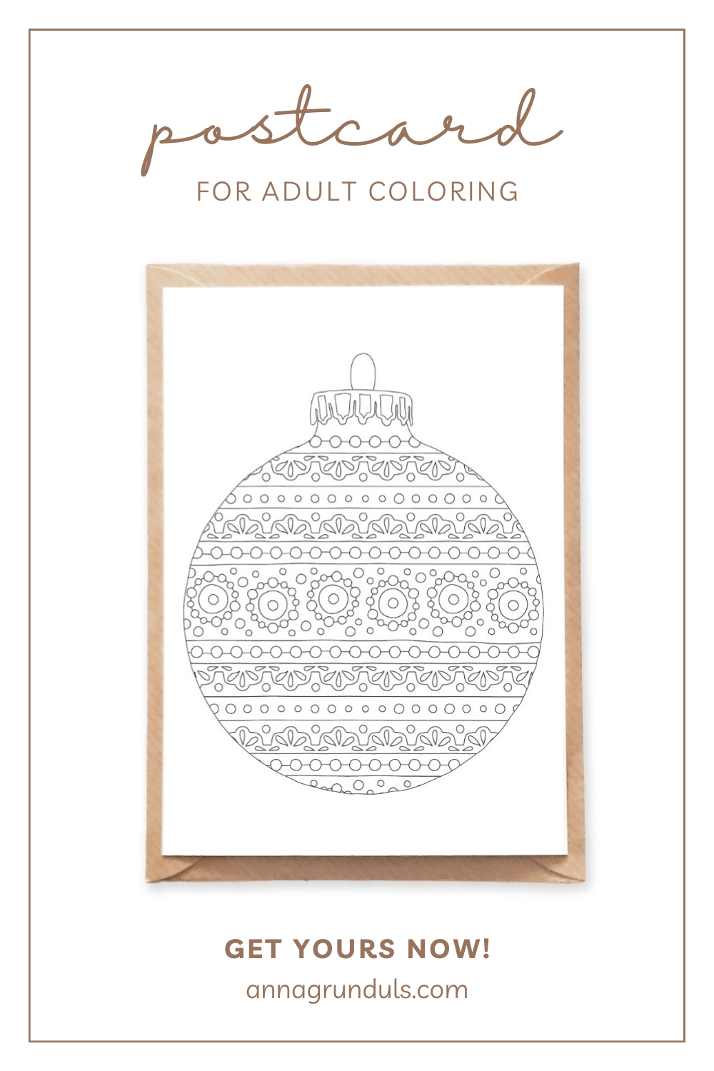 round ornament postcard for adult coloring pinterest pin